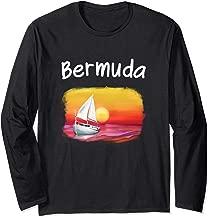Sailing Bermuda Souvenir Cool Sunset Ocean Sail Boat Drawing Long Sleeve T-Shirt