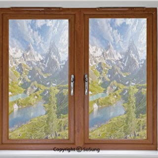24x42 inch Decorative Window Privacy Film,Lake Between Snowy Altai Range of Mountains Siberia Meadow in Nature Artwork Frosted Stained Window Clings Static Cling for Home Bedroom Office