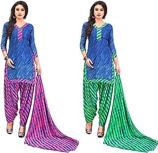 Jevi Prints - Pack of 2 Unstitched Women's Unstitched Synthetic Crepe Salwar Suit Dupatta Material (R-9158_B-9158_C)