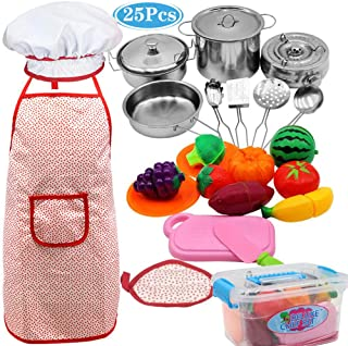 Kids Kitchen Pretend Toys 25Pcs Includ Stainless Steel Cookware Playset and Stove Pots and Pans , Cooking Utensils Accessories, Cutting Vegetables & Fruit, Apron & Chef Hat for Toddlers +Storage Box