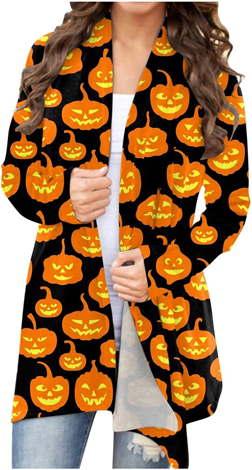 UOCUFY Cardigan for Women, Womens Long Sleeve Halloween Cute Graphic Tops Open Front Cardigan Blouse Casual Fall Coat