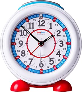 EasyRead Time Teacher Children's Alarm Clock with Night Light, 12 & 24 Hour Time, Red & Blue Clock Face