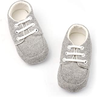 FR.Tooc Baby Flat Shoes Most Soft Soles Non-Slip Gentleman Sneakers Girls Boys Shoes 100% Cotton Stripes Light Blue Light Gray First Walkers 3-12 Months