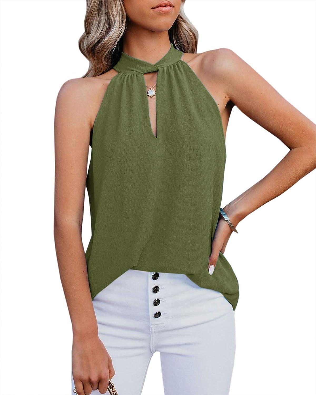 Eurivicy Womens Tank Tops Halter Sleeveless Summer Casual Loose Flowy Chiffon Beach Cami Tee Shirts