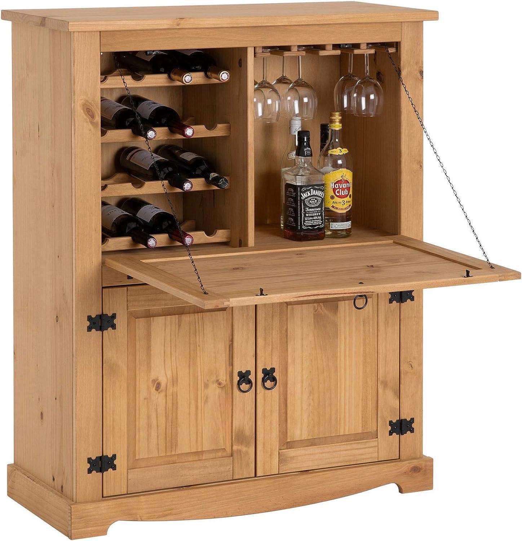 IDIMEX Weinschrank Tequila im Mexico Stil, Barschrank Hausbar Weinregal, Kiefer massiv, Mexiko Mbel, gebeizt gewachst