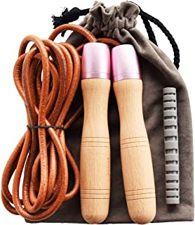 Ahomie Jump Rope, Premium Leather Skipping Jumping Ropes, 360-Degree Bearing and Pure Wood Handles, for Gym & Home Fitness Workouts