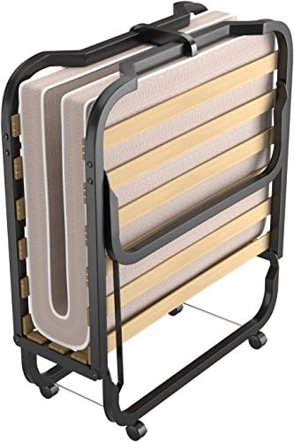2021 Giantex Folding Bed with Mattress Update, popular Rollaway Beds W/Luxurious Memory Foam Mattress for Adults, Weight Capacity 240LBS, Portable Guest Bed on Wheels high quality for Home & Office 79x36 Inch outlet sale