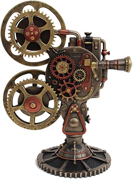 Steampunk Projector Statue With LED Cold Cast Bronze