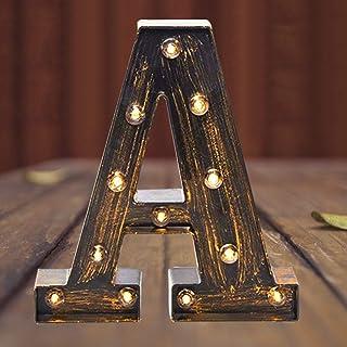 Elnsivo Light Up Vintage LED Marquee Lights Lit Initial Letters Industrial 26 Alphabet Name Sign Bar Cafe Decoration for B...