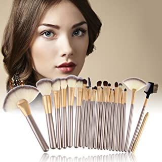 SEASHELL Makeup Brush Set, 24 Pcs Makeup Brush Professional Wood Handle Premium Synthetic Kabuki Foundation Blending Blush Concealer Eye Face Liquid Powder Cream Cosmetics Lip Brush Tool Brushes Kit