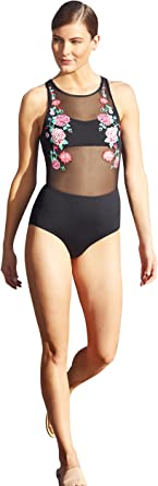 Anne Cole Sheer Illusion Floral Embroidery Detail High Neck Swimsuit
