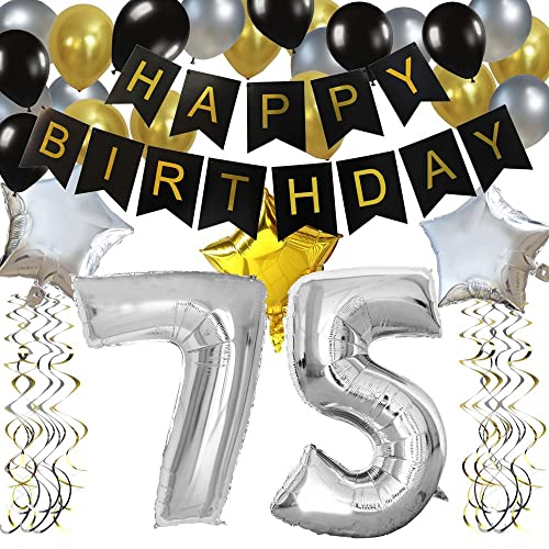 KUNGYO Classy 75TH Birthday Party Decorations Kit Black Happy Brithday BannerSilver 75 Mylar