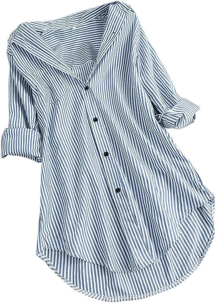 TavorptWomenSummerTopsLooseFit,WomensCasual LongSleeveTurn-down Loose Collar ButtonT-ShirtsBlouseTopTee