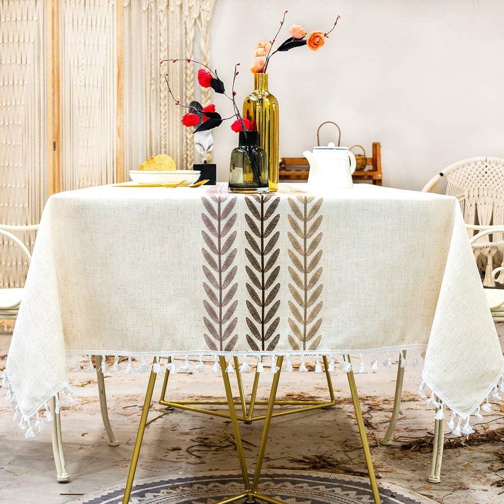 SUNBEAUTY Manteles Mesa Rectangular Tela Impermeable Algodon Lino con Borlas Mantel Elegante Mesa Rectangular 140x240 cm Table Cloth Rectangle para Mesa de Comedor