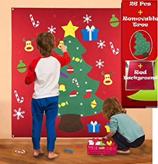StarProd Felt Christmas Tree for Kids with Red Backing & 26 Ornaments | Holidays Home Decor for Toddler, Wall Decorations, Xmas Gifts for Christmas Decorations, Great DIY for Imaginative Play