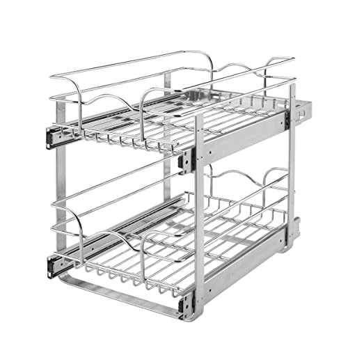 "Rev-A-Shelf 12"" Wide 22"" Deep Base Kitchen Cabinet 2 Tier Pull Out Wire Basket"