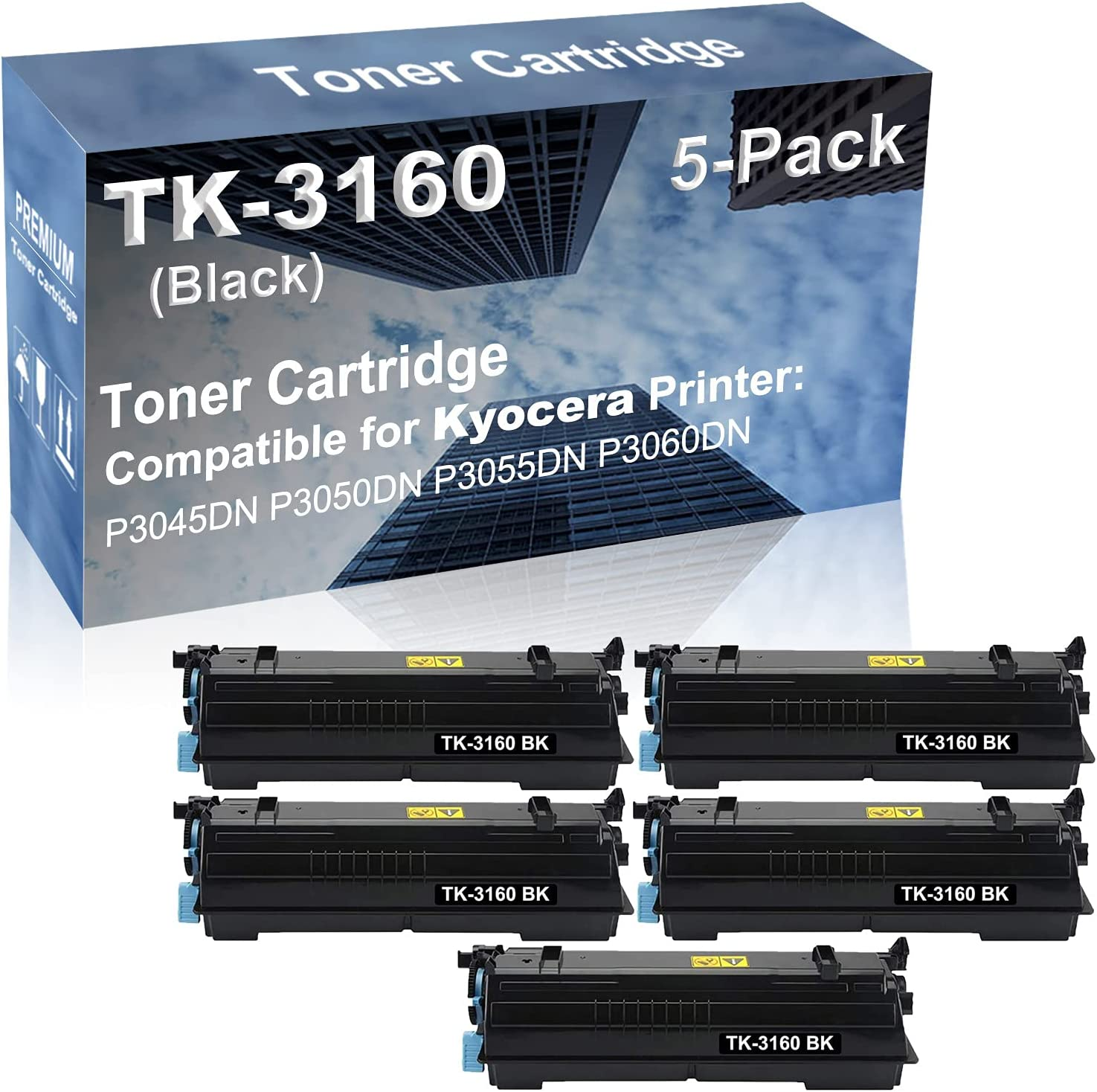 5-Pack Compatible High Yield P3045DN P3050DN P3055DN P3060DN Printer Cartridge Replacement for Kyocera TK-3160 TK3160 Toner Cartridge (Black)