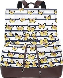 Emoya Damen Rucksack Schmetterling Marineblau Streifen Mode PU Leder Rucksack Rucksack Schultertasche