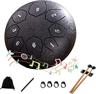 Steel tongue drum, percussion instrument steel drum instrument kit. Music education, yoga practice, relaxation meditation,...