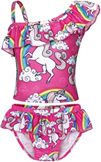 AmzBarley Girls Unicorn 2 Piece Bathing Suit Tankini Bikini Sets Beach Wear Gymnastics Leotard Swimwear Off Shoulder Size 8-9 Years Tag 10/140