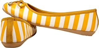 Planet Wear Comfortable and Stylish Women Ballerina Yellow with White Stripes Bellies with Bell Designed Bow