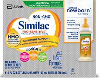 Similac Pro-Sensitive Non-GMO Infant Formula with Iron, with 2'-FL HMO, Ready-to-feed Newborn Bottles, For Immune Support, Baby Formula, 2 fl oz bottles (48 bottles)