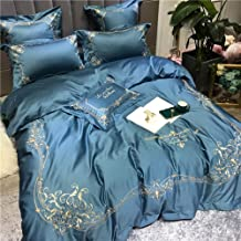 Nordic High-grade Cotton Material Solid Blue And Gold Tribute Embroidery Patterns Seven Sets Of Bedding Quilt Bed Linen Si...