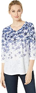 Jeans Women's Printed Smooth Jersey Cascading Stars Print V-Neck Top