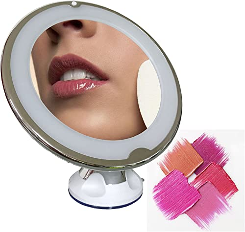 popular 10X lowest Magnifying Mirror online with LED Light, Lighted Magnifying Makeup Mirror with Lock Suction Cup for Tabletop Bathroom Big Mirror Travel, 360°Rotation Wall Mounted or Other Flat Clean Surface, Round sale