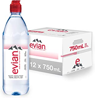evian Natural Spring Water Individual 750 mL/25.4 Fl Oz (Pack of 12), Water Bottles with Sports Cap, Naturally Filtered Sp...