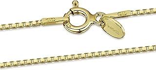 Amberta Sieraden - Echt 925 Sterling Zilver - 18K Geel Verguld Keten - Venetiaan Blokjes Halskettingen - Collier voor Vrou...