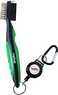 Voplop Golf Brush and Club Groove Cleaner - Easily Attaches to Golf Bag - Deep Clean Iron Grooves - Cleaning Club Face - Bag Clip & Retractable Extension Cord