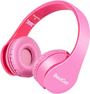 BestGot Kids Headphones for Girls Adult with Microphone in-line Volume Foldable Headset with 3.5mm Plug Removable Cord (Pink)