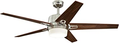 Westinghouse Lighting 7204600 Brushed Nickel, Remote Control Included Zephyr 56-inch Indoor Ceiling Fan, Dimmable LED Light Kit with Opal Frosted Glass