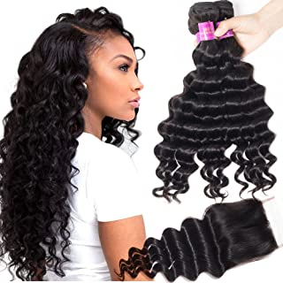 Star Show Hair Malaysian Loose Deep Wave Bundles with Closure Virgin Loose Wave Human Hair Extensions(18 20 22 with 16Free Part Closure)