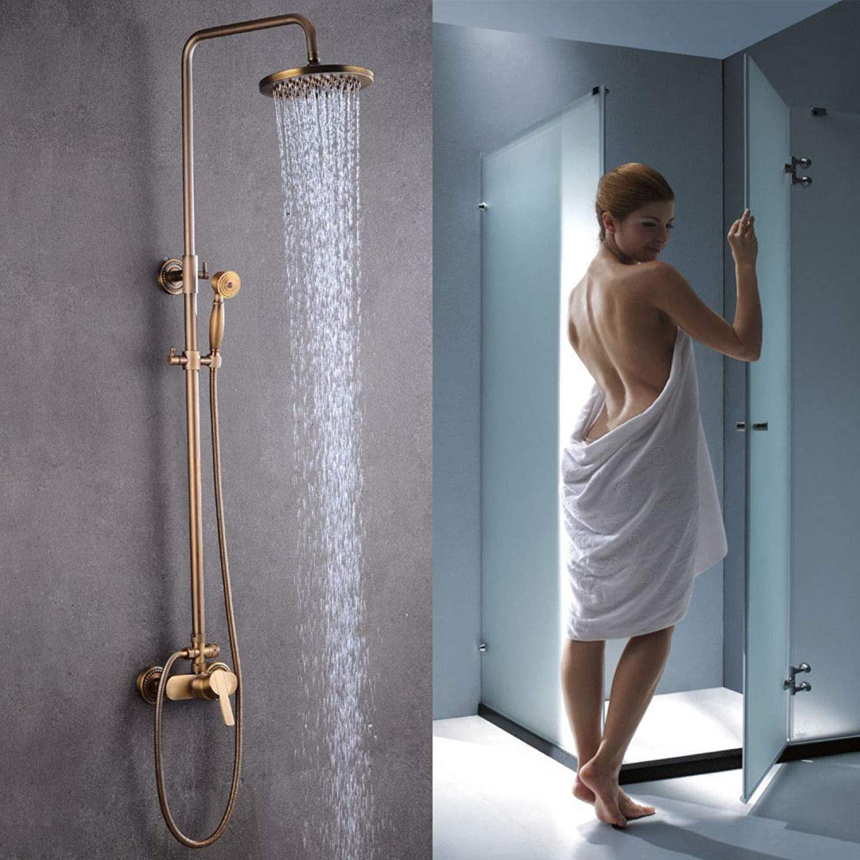 DiLiBee Complete Retro Shower Set Bath Set Shower Head Shower Head Faucet Bronze Nostalgia Retro Shower gold Antique