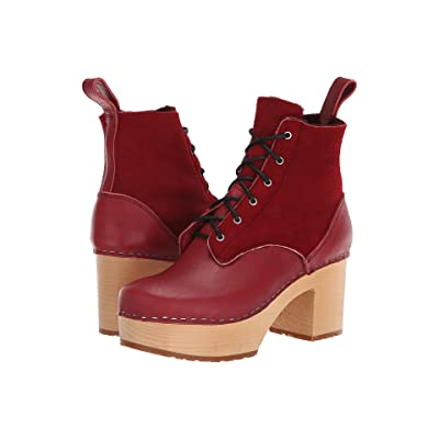 Swedish Hasbeens Hippie Lace-Up (Wine Red) Women