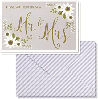 Wedding Thank You Cards - 48-Pack Gold Foil Thank You from the New Mr. and Mrs. Greeting Card, Bulk Thank You Note Cards and Envelopes Stationery Set, Floral Design, 4 x 6 Inches