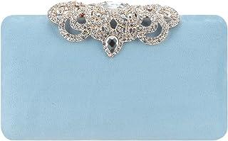 Fawziya Crown Clutch Purse Bling Hard Box Rhinestone Crystal Clutch Bag-Turquoise Blue