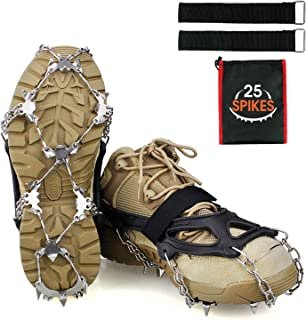 Ykall Crampons Ice Cleats Traction Snow Grips for Boots Shoes Women Men Kids Anti Slip 25 Stainless Steel Spikes Safe Prot...