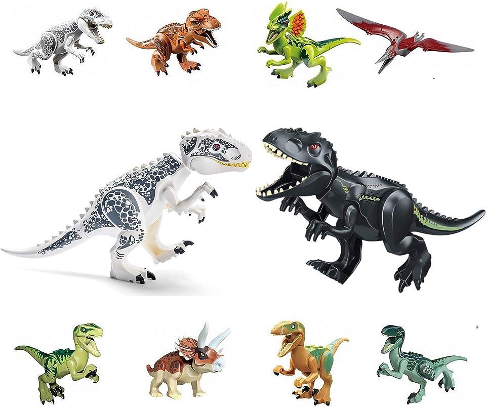 """LINYOTEC 10 Pack Jura-Dinosaurier, Jurassic Dinosaurs, 2 Groß(28cm) + 8 Klein(4""""), Gebäude Dino Actionfiguren Spielzeug, Kinder Jungen Lernspielzeug Geschenkidee 57"""