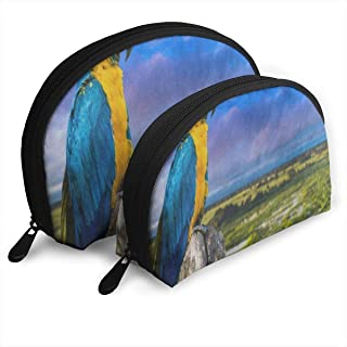 Makeup Bag Blue And Yellow Macaw Bird Landscape Nature Handy Half Moon Clutch Pouch Bags Organizer For Women