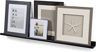 Wallniture Boston Contemporary Floating Wall Shelf Ledge for Picture Frames Book Display Black 46 Inch