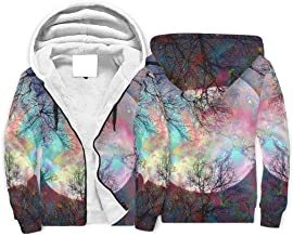 IOVEQG Male's Pullover Winter Hoodie Jacket Fleece Moon and Colorful Tree Coats