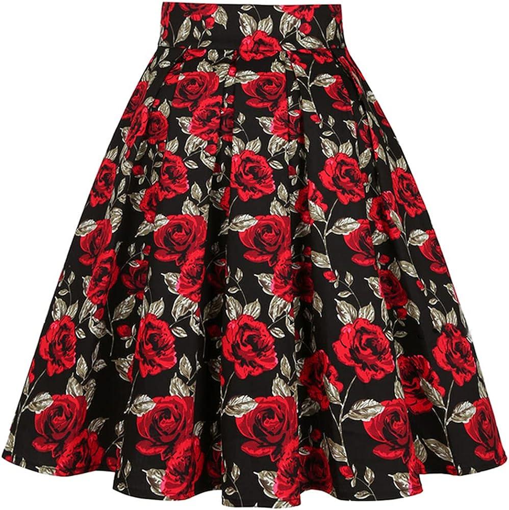 NP Women Short Skirt High Waist Plus Size Floral Printed