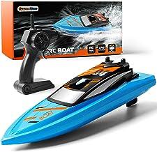 GizmoVine Barco Teledirigido Barco Teledirigido Alta Velocidad de 2.4 GHz ,1 Batería Juguetes Electronico para Niño Niña Juegos en Bascula Baño y Piscina(Azul)
