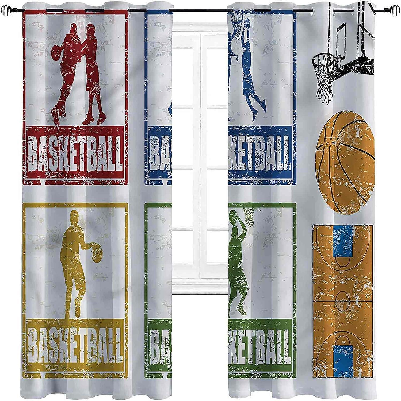 Basketball Bedroom Blackout Curtains 2 Soldering Grunge Sport Max 41% OFF