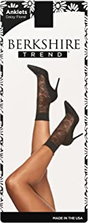 Berkshire womens 5219 Plus Daisy Floral Anklet Socks With Scalloped Top Hosiery - black - Plus (Shoe Size 9-12)