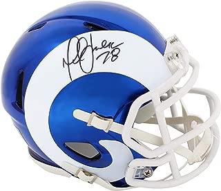 Signed Marshall Faulk Mini Helmet - Chrome Riddell Speed - Autographed NFL Mini Helmets