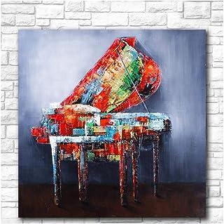 Mmdianpu Mur Art Toile Impression Peinture Coloré Abstrait Piano Affiche Musique Graffiti Guitare Photos Chambre Décor À La Maison (60x60 cm Sans Cadre)